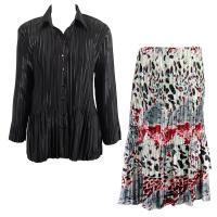 Sets Satin Mini Pleat - Blouse / Skirt - Solid Black - Reptile Floral Red Skirt