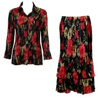 Sets Satin Mini Pleat - Blouse / Skirt - Coral Blossoms on Black