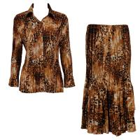 Sets Satin Mini Pleat - Blouse / Skirt - Golden Leopard