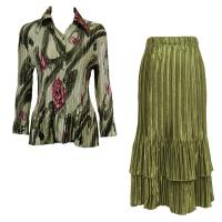 Sets Satin Mini Pleat - Blouse / Skirt - Multi Green Floral - Olive Skirt