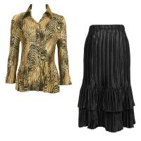 Sets Satin Mini Pleat - Blouse / Skirt - Swirl Animal - Black Skirt