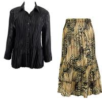 Sets Satin Mini Pleat - Blouse / Skirt - Solid Black - Swirl Animal Skirt
