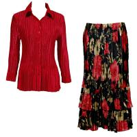 Sets Satin Mini Pleat - Blouse / Skirt - Solid Dark Red - Coral Blossoms on Black Skirt