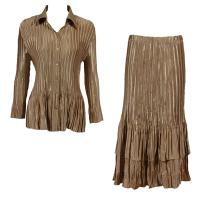 Sets Satin Mini Pleat - Blouse / Skirt - Solid Light Gold