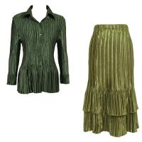 Sets Satin Mini Pleat - Blouse / Skirt - Solid Olive