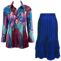 Sets Satin Mini Pleat - Blouse / Skirt - Red-Blue Flower - Royal Skirt