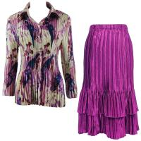 Sets Satin Mini Pleat - Blouse / Skirt - Abstract Floral Raspberry-Navy - Orchid Skirt
