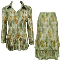 Sets Satin Mini Pleat - Blouse / Skirt - Gold-Sage Floral