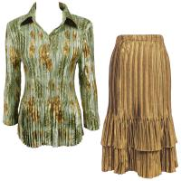 Sets Satin Mini Pleat - Blouse / Skirt - Gold-Sage Floral - Gold Skirt