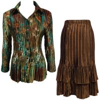 Sets Satin Mini Pleat - Blouse / Skirt - Jungle Floral Turquoise - Brown Skirt