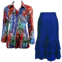 Sets Satin Mini Pleat - Blouse / Skirt - Abstract Blue-Red - Royal Skirt