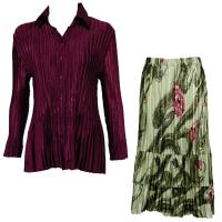 Sets Satin Mini Pleat - Blouse / Skirt - Solid Ruby - Multi Green Floral Skirt