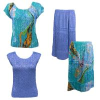 Sets Magic Crush Silky Touch - Two Cap/Calf Skirt - Swirl Aqua-Blue - Azure Blue