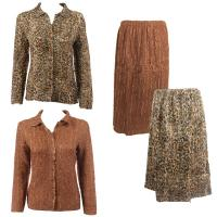 Sets Magic Crush Silky Touch-Two Blouse/Calf Skirt - Leopard - Dark Taupe