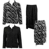Sets Magic Crush Silky Touch-Two Blouse/Calf Skirt - Ribbon Black-White - Black