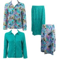 Sets Magic Crush Silky Touch-Two Blouse/Calf Skirt - Tropical Breeze - Bright Teal