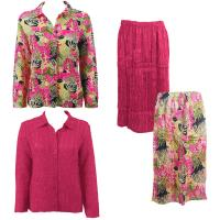 Sets Magic Crush Silky Touch-Two Blouse/Calf Skirt - Tropical Heat - Hot Pink