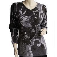Slinky Style Tops - Beaded Long Sleeve - Abstract Metallic Floral - Black-Silver