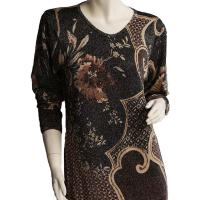 Slinky Style Tops - Beaded Long Sleeve - Abstract Metallic Floral - Black-Tan