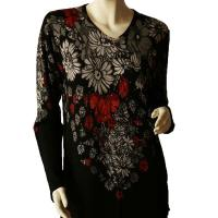 Slinky Style Tops - Beaded Long Sleeve - Falling Flowers - Black-Grey-Red
