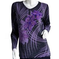 Slinky Style Tops - Beaded Long Sleeve - Brushstrokes Metallic Floral - Black-Purple