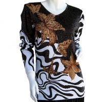 Slinky Style Tops - Beaded Long Sleeve - Flowers and Swirl Metallic - Black-Tan-White