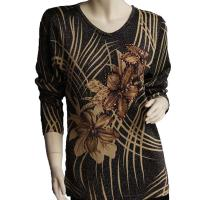 Slinky Style Tops - Beaded Long Sleeve - Brushstrokes Metallic Floral - Black-Tan