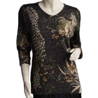 Slinky Style Tops - Beaded Long Sleeve - Giraffe Metallic Floral - Black-Tan