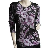 Slinky Style Tops - Beaded Long Sleeve - Tropical Floral Metallic - Black-Purple