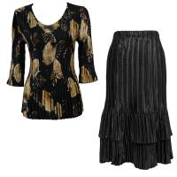 Sets Satin Mini Pleat - Three Quarter V-Neck - Black with Gold Leaves - Black Skirt
