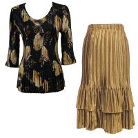 Sets Satin Mini Pleat - Three Quarter V-Neck - Black with Gold Leaves - Gold Skirt