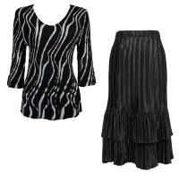 Sets Satin Mini Pleat - Three Quarter V-Neck - Ribbon Black-White - Black Skirt