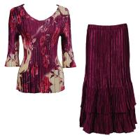 Sets Satin Mini Pleat - Three Quarter V-Neck - Rose Floral Berry - Ruby Skirt
