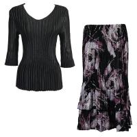 Sets Satin Mini Pleat - Three Quarter V-Neck - Solid Black - Brushstrokes Black-Purple Skirt
