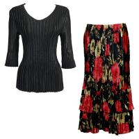 Sets Satin Mini Pleat - Three Quarter V-Neck - Solid Black - Coral Blossoms on Black Skirt