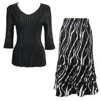 Sets Satin Mini Pleat - Three Quarter V-Neck - Solid Black - Ribbon Black-White Skirt