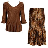 Sets Satin Mini Pleat - Three Quarter V-Neck - Solid Brass - Golden Leopard Skirt