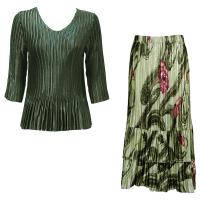 Sets Satin Mini Pleat - Three Quarter V-Neck - Solid Olive - Multi Green Floral Skirt