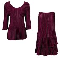 Sets Satin Mini Pleat - Three Quarter V-Neck - Solid Ruby