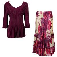 Sets Satin Mini Pleat - Three Quarter V-Neck - Solid Ruby - Rose Floral Berry Skirt