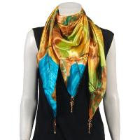 Scarves - Satin Triangle with Pendants - Leaves Turquoise-Green-Copper