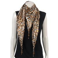 Scarves - Satin Triangle with Pendants - Leopard Print