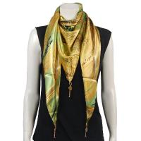 Scarves - Satin Triangle with Pendants - Hurricane - Gold
