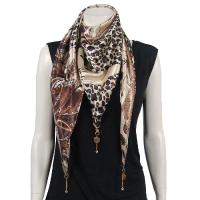 Scarves - Satin Triangle with Pendants - Patchwork Paisley Jungle