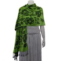 Pashmina Style Shawls-Woven Jacquard and Two-Tone  - Butterflies and Flowers - Green/Black