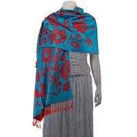 Pashmina Style Shawls-Woven Jacquard and Two-Tone  - Butterflies and Flowers - Turquoise/Red