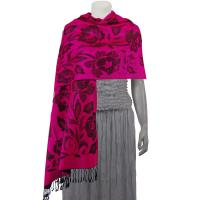 Pashmina Style Shawls-Woven Jacquard and Two-Tone  - Butterflies and Flowers - Fuchsia/Black