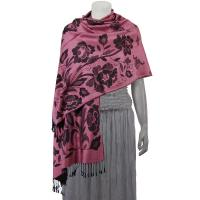 Pashmina Style Shawls-Woven Jacquard and Two-Tone  - Butterflies and Flowers - Dusty Rose/Black