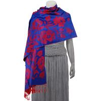 Pashmina Style Shawls-Woven Jacquard and Two-Tone  - Butterflies and Flowers - Royal Blue/Red