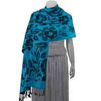 Pashmina Style Shawls-Woven Jacquard and Two-Tone  - Butterflies and Flowers - Turquoise/Black